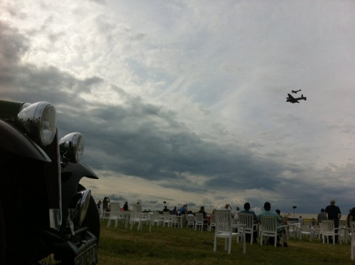 Chattie watches Lancaster and Spitfire overhead