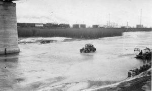 Moose Jaw car on frozen river